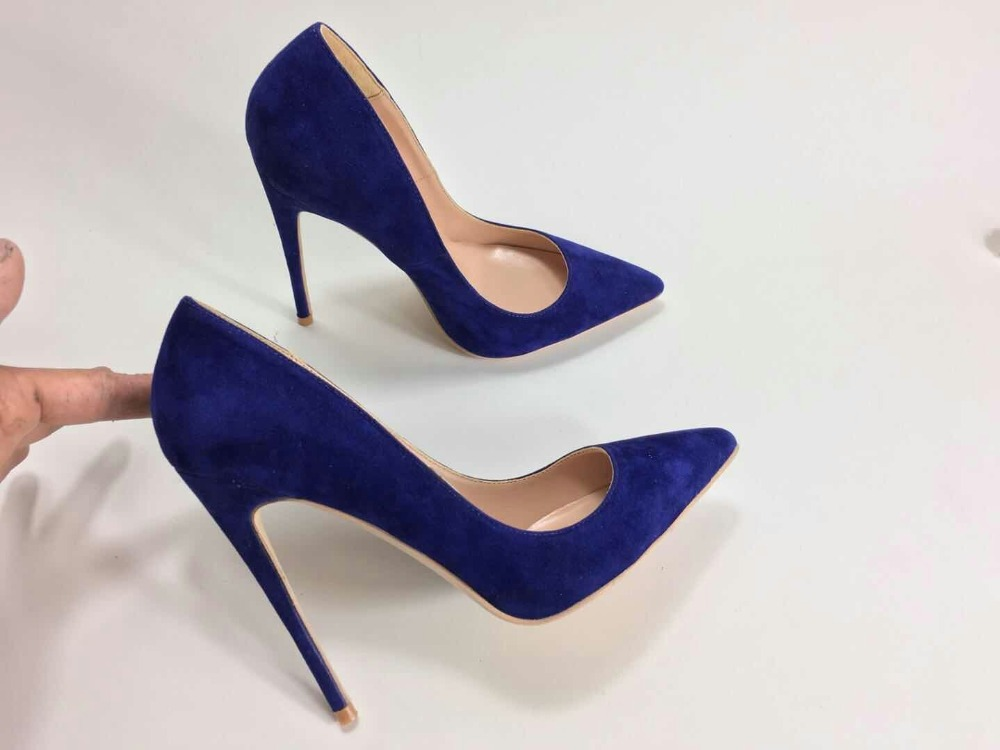 Keshangjia Women High Heels Pumps Flock Pointed Toe Women Pumps Ladies Shoes Thin High Heel Large