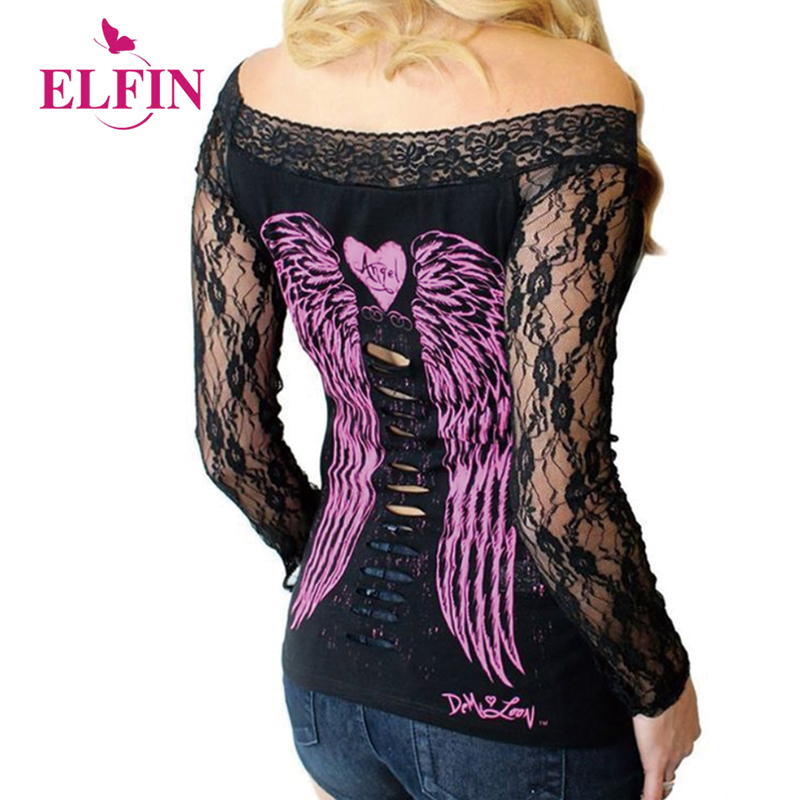 Women T-shirts Sexy Slash Neck Off Shoulder Tee Shirt Long Sleeve Lace Stitching Angel Wings Printed Hollow T-shirt WS2043R