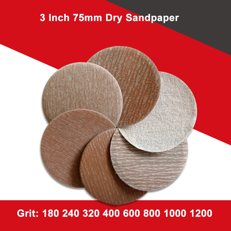 10/20/50Pcs 3 Inch <font><b>75mm</b></font> Dry Sandpaper Flocking Self-adhesive <font><b>Discs</b></font> Hook Loop For Norton Abrasives A275 180-1200 Grit image