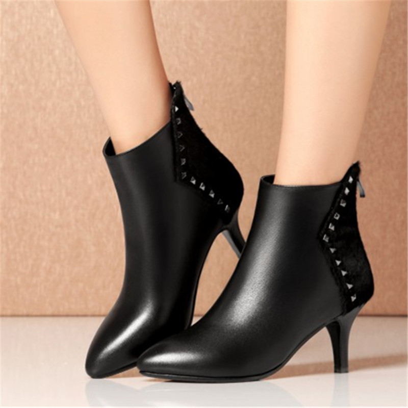 Genuine Leather Ankle Boots Fashion Horsehair Women Boots Pointed Toe Stiletto High Heel Black Sexy Rivet Shoes Plus Size 34-43 fashion pointed toe and stiletto heel design ankle boots for women