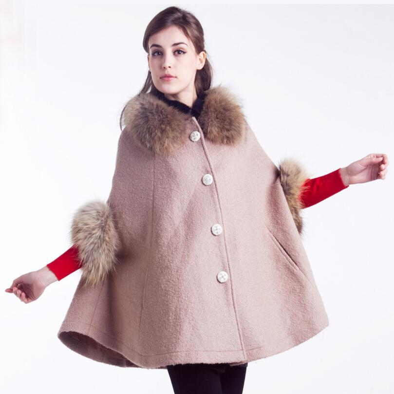 Fashion Woolen Coats Cloak for Women Winter Lady Fur collar Outwear 2018 New Autumn Overcoat Cape Woolen Shawl Casaco Feminin