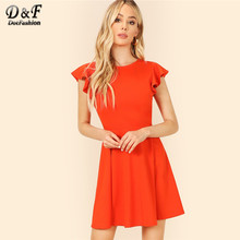1786623b3 Dotfashion naranja manga Flutter ajuste y Flare vestido de verano de las  mujeres 2019 elegante manga coreano ropa de moda de un .