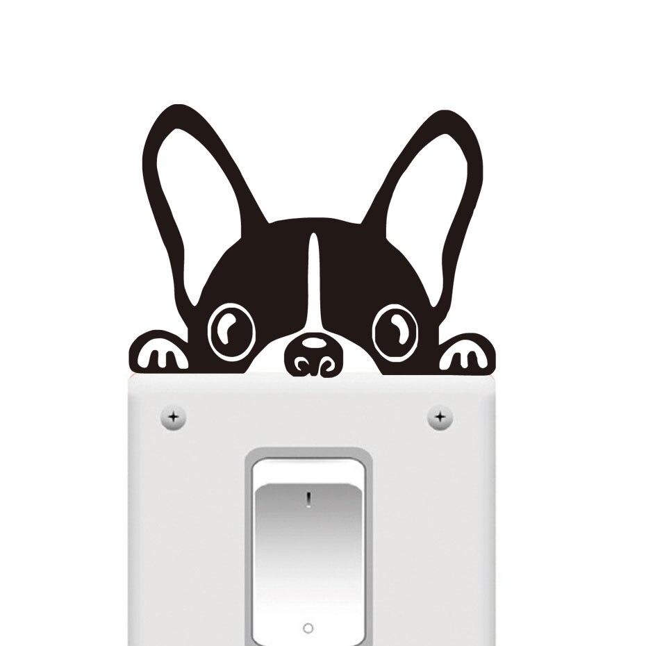 Cute Boston Terrier Wallpaper Funny French Bulldog Light Switch Sticker Window