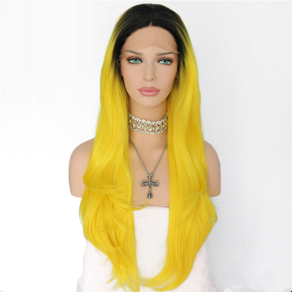 Lvcheryl Hand Tied Natural Long Straight Ombre Black To Yellow Heat Resistant Fiber Hair Synthetic Lace
