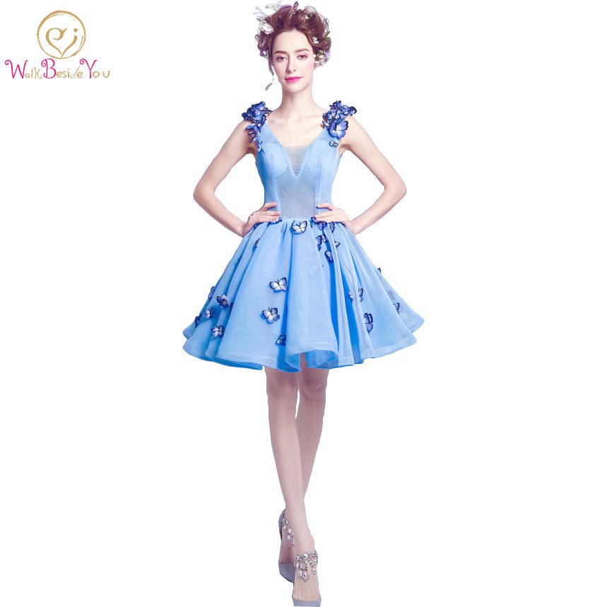 Vestidos Elegantes Cortos De Fiesta Prom Gowns Blue with Butterfly Pattern Ball Gown Cocktail Tulle-gowns Party Dresses In Stock