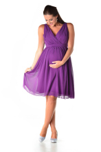 2016 New Arrival Short Knee Length Purple Maternity Bridesmaids Dresses Sleeveless V neck Beach Pregnant Women Party Dresses