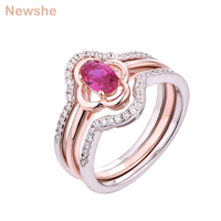Newshe 3 Pcs Wedding Ring Set 0.8Ct Pink Oval Shape 925 Sterling Silver Rose Gold Color Engagement Rings For Women GR02216A