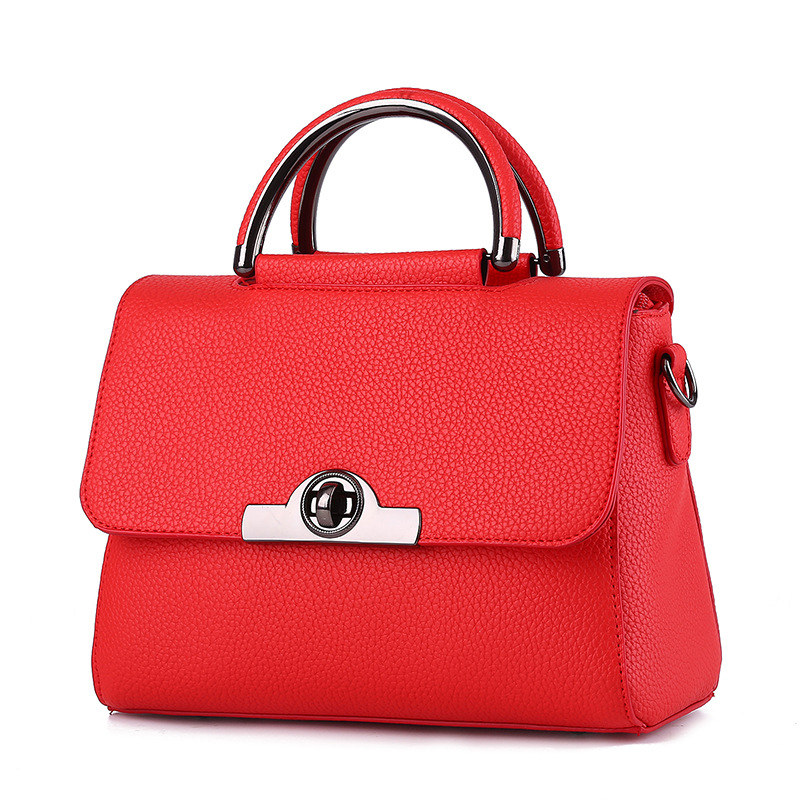 Fashion Cusual Red PU Women Handbag Shoulder Bag Twist Turn Lock Crossbody Messenger цена