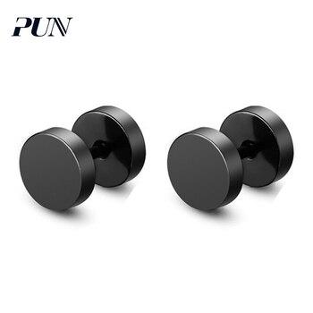 PUN stud earrings fashion jewelry black kpop small male bts earrings silver men titanium stainless steel jewelry earing punk earrings