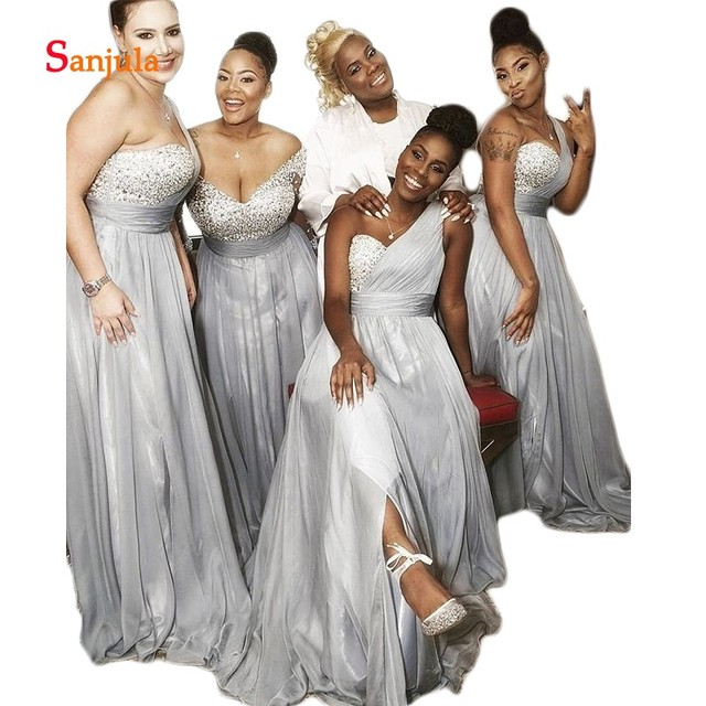 One Shoulder Grey Bridesmaid Wedding Guest Dresses Long Chiffon Party Dress For Girls Dazzling Beaded Sequins Prom D188