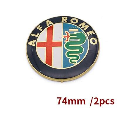 2 шт. 7,4 см ALFA ROMEO автомобилей Логотип эмблема значок наклейка для Mito 147 156 159 166 скидки черный белый Цвет 74 мм - Название цвета: Золотой