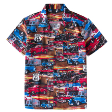 70 s Vintage Hawaii Aloha camisa hombres botón medio arriba Casual manga corta Boho verano Ruta 66 Retro camisas
