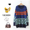 2017 spring women's circle pattern long design o-neck sweater pullover sweater