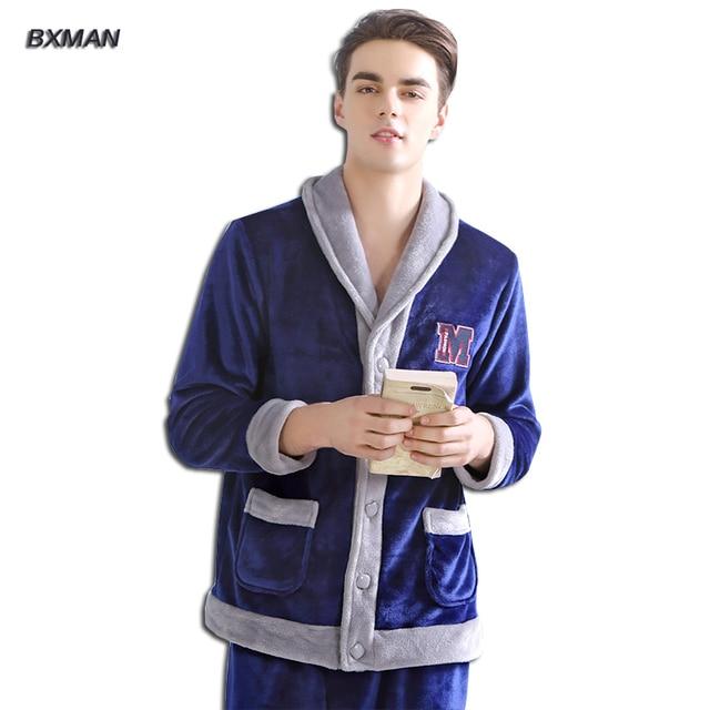 BXMAN Brand Men's New Pijamas Hombre Modern Pajamas Thicken Warm Coral Fleece Solid Hooded Collar Full Sleeve Men Pajamas Sets
