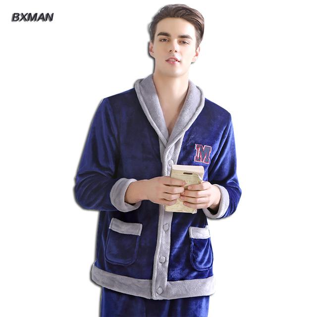 BXMAN Marca Hombre Moderna dos homens Novos Pijamas Pijamas Dos Homens Engrossar Quente Velo Coral Sólidos Com Capuz Collar Completo Manga Pijama conjuntos