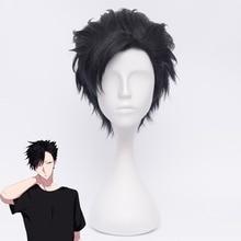 Haikyuu! Kuroo Tetsurou косплей парик 35 см короткие прямые термостойкие синтетические волосы аниме Хэллоуин костюм черные вечерние