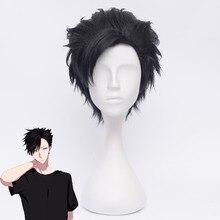 Haikyuu!! Kuroo Tetsurou peruka do cosplay 35cm krótkie proste żaroodporne włosy syntetyczne Anime kostium na halloween Party czarny