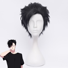 Haikyuu!! Kuroo tetsurou 코스프레 가발 35 cm 짧은 스트레이트 내열성 합성 머리 애니메이션 할로윈 의상 파티 블랙