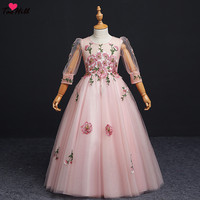 TaoHill Pink Flower Girl Applique Decoration Long Dress Beauty Three Quarter Sleeves 2019 New Girl Wedding Party Exchange Dress