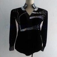 New style men latin dance costumes senior spandex stones long sleeves latin dance shirt for men latin dance shirts S 4XL M007