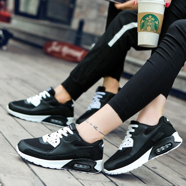Genuino marca Sport zapatos corrientes de los hombres al aire libre Max 90 formación cuero ligero amortiguación Athletic zapatillas de deporte profesional