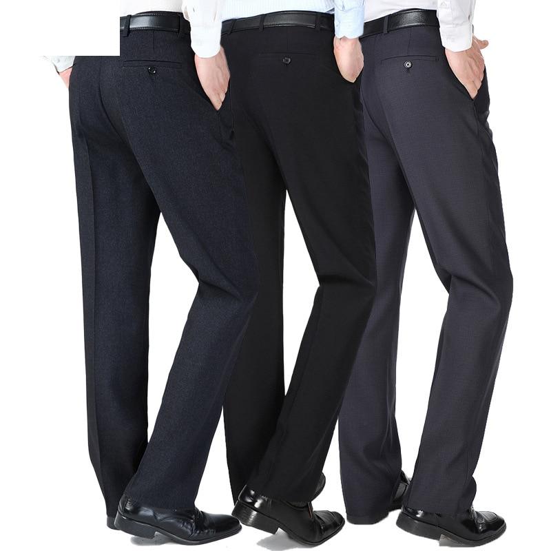 Autumn Winter Thick Men Formal Suit Pants Mens Straight Pantalon Costume Homme Dress Pants Loose Middle Age Male Trousers
