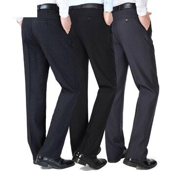 a13e98f09 Otoño Invierno gruesa hombres Formal pantalones de traje hombre recto Pantalon  traje Homme vestido pantalones sueltos medio edad Hombre Pantalones