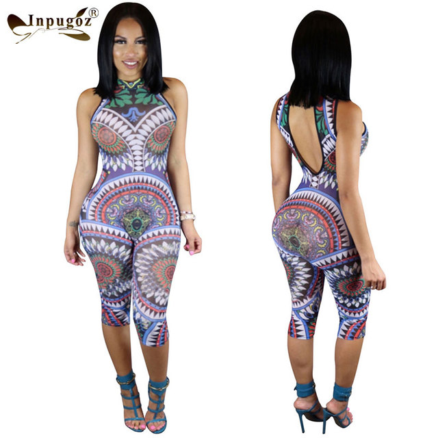 New Items Hot Digital Print Sexy Low Backless Jumpsuits Women Halter Print Rompers Club Bodysuits