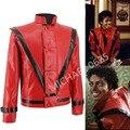Редкие MJ Майкл Джексон Триллер MTV limited Edition Красный Англия Ретро Кожаная Куртка коллекция Верхней Одежды Любой Размер