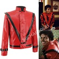 Rare MJ Michael Jackson Thriller MTV limited Edition Red England Retro Leather Jacket collection Outwear Any Size