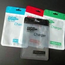 50 шт. 11*17 см прозрачная, пластиковая, молния в розницу упаковка полипропилен сумки для USB зарядное устройство кабель молния замок отверстие для подвешивания пакет сумка