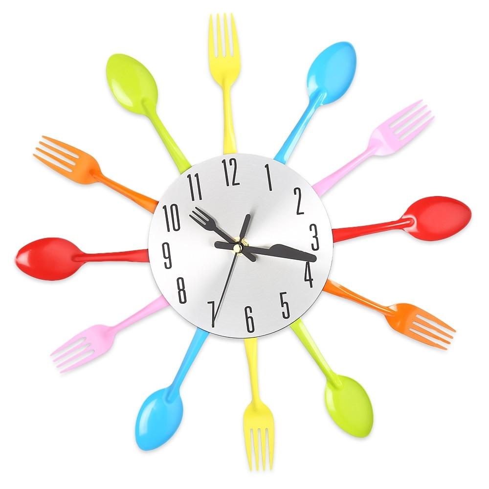 Wall Clock Colorful Knife Fork Spoon Kitchen Clocks Creative Modern ...