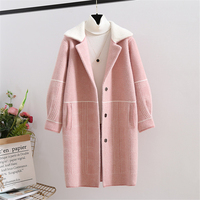 2019 Autumn New Ladies Sweater Mink Cashmere Long Cardigan Coat Winter Tops Women Soft Mink Sweaters Coats Thick Warm Outerwear