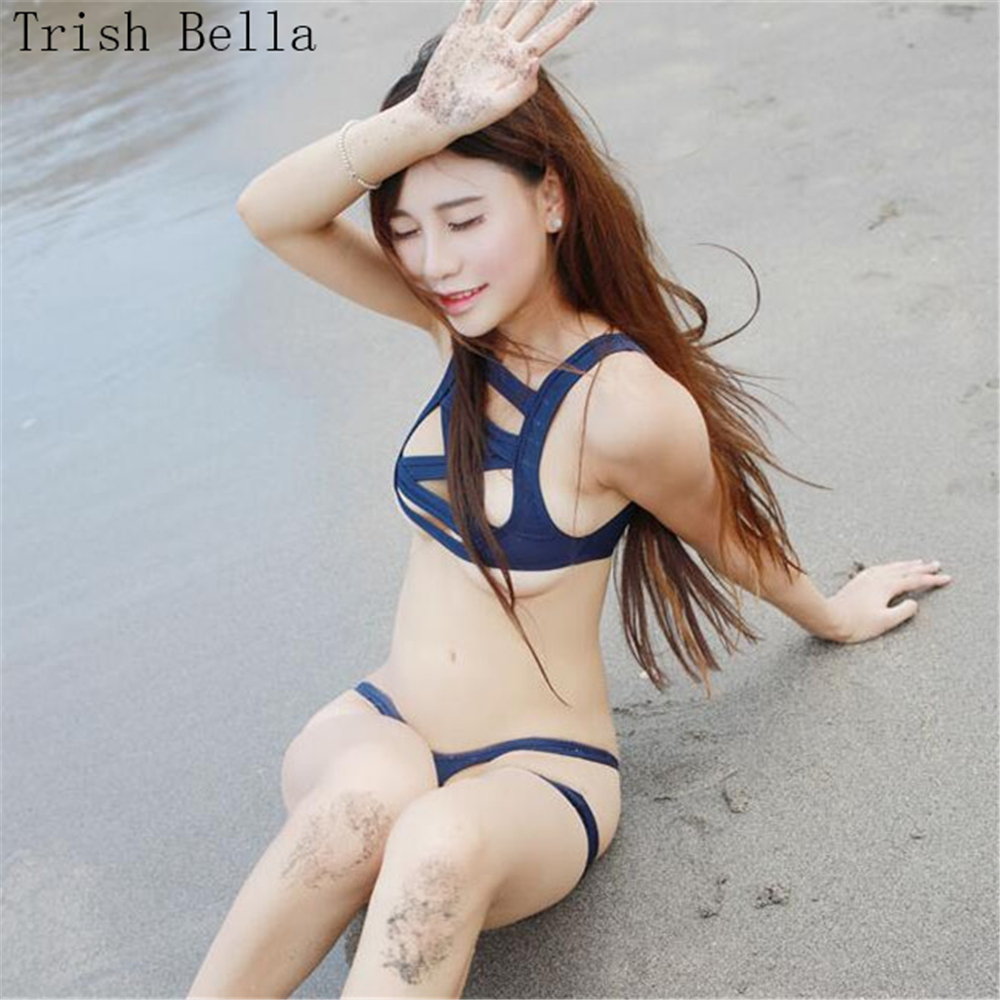 Nice Trish Bella 2018 Solid Color Bandage Japanese Hollow Split Swimsuit Bikini Sexy Costumes Babydoll Open Bra Disfraz Sexy Lingerie