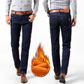 Velo de veludo quente calças de brim dos homens homme mens Jean rasgado jeans skinny masculina engrossar algodão calças retas plus size 28-48 # YF6011