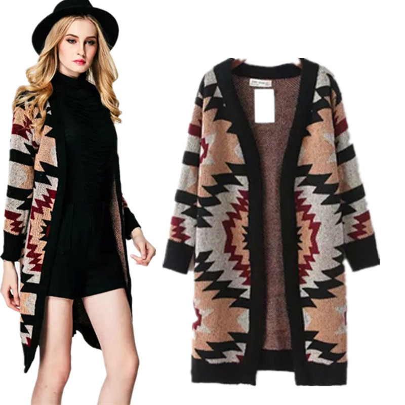 2015 Fall New Women Casual Geometric Printed Long Cardigan Wrap ...
