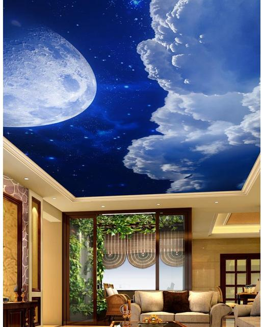 3d wall murals wallpaper full moon night sky ceiling cloud for Ceiling cloud mural