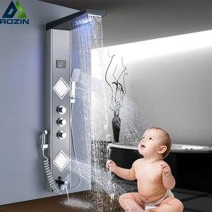 Image 1 - LED ışık şelale yağmur biçimli duş paneli banyo duş musluk sütun sistemi 3 kolları 6 fonksiyonlu duş bataryası bide püskürtücü ile