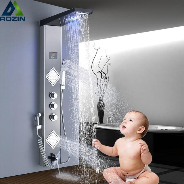 Panel de ducha de lluvia y Cascada con luz LED, grifo de ducha de baño, sistema de columna, 3 asas, mezcladores de ducha de 6 funciones con rociador de bidé