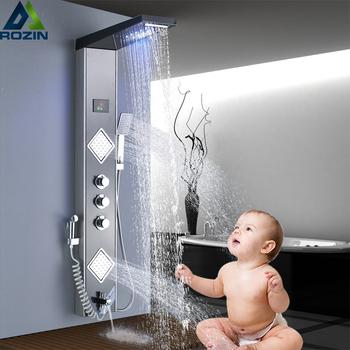 Wodospad LED światła deszczownica Panel prysznic kąpielowy System kolumna 3 uchwyty 6-funkcja miksery prysznicowe z rączka bidetowa tanie i dobre opinie rozin TR012 Klasyczny Led light Zimnej i Ciepłej Temperatura sensitive Stała typu wsparcie STAINLESS STEEL Pojedynczy uchwyt podwójna kontrola