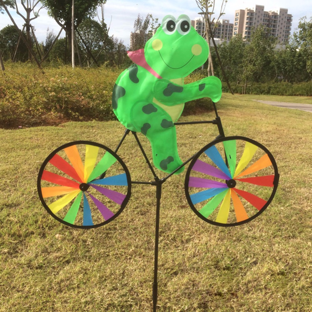 1Pc Cute 3D Animal on Bike Windmill Wind Spinner Whirligig Garden Lawn Yard Decor Kids Toy in Windmill from Toys Hobbies