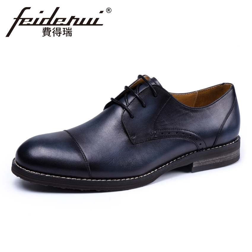 Vintage Genuine Leather Men's Derby Footwear Round Toe Lace-up Man Handmade Party Flats Formal Dress Business Office Shoes KUD40 mycolen patent leather genuine leather man shoes flats formal business shoe lace up handmade dress wedding shoes derby hombre