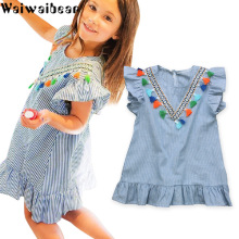 Waiwaibear Baby Kids Girls Dresses Summer Sleeveless Dress Striped Fashion Clothes