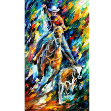 Hand Painted Cowboy artwork Abstract Landscape Knife Modern Art Oil Painting Canvas Art Living Room hallway Artwork Fine Art