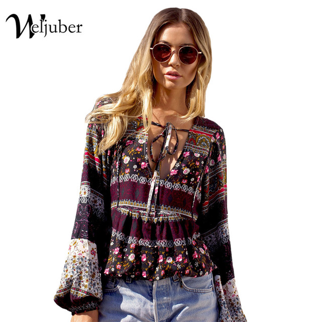 Weljuber Women Bohemia Blouse 2018 Summer Beach Blouse Deep V-Neck Sexy Women Boho Tops and Blouse Ladies Shirt Hot Sell