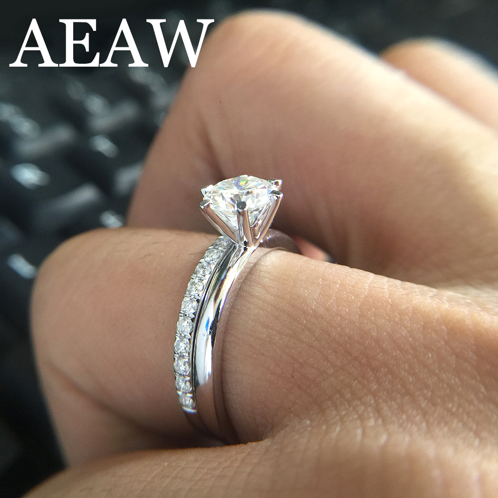 Solid 14K White Gold 0.8ctw DF Round Moissanite Engagement Ring Set Band lab Diamond Solitaire Wedding for Women (2 Pieces ring) transgems 1 carat lab grown moissanite diamond solitaire wedding band for man brilliant solid 18k two tone gold gentle dcc031