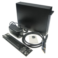 Mini PCIe to Dual PCIE 2 Ports 16x pci e Bus Slot Adapter with case enclosure