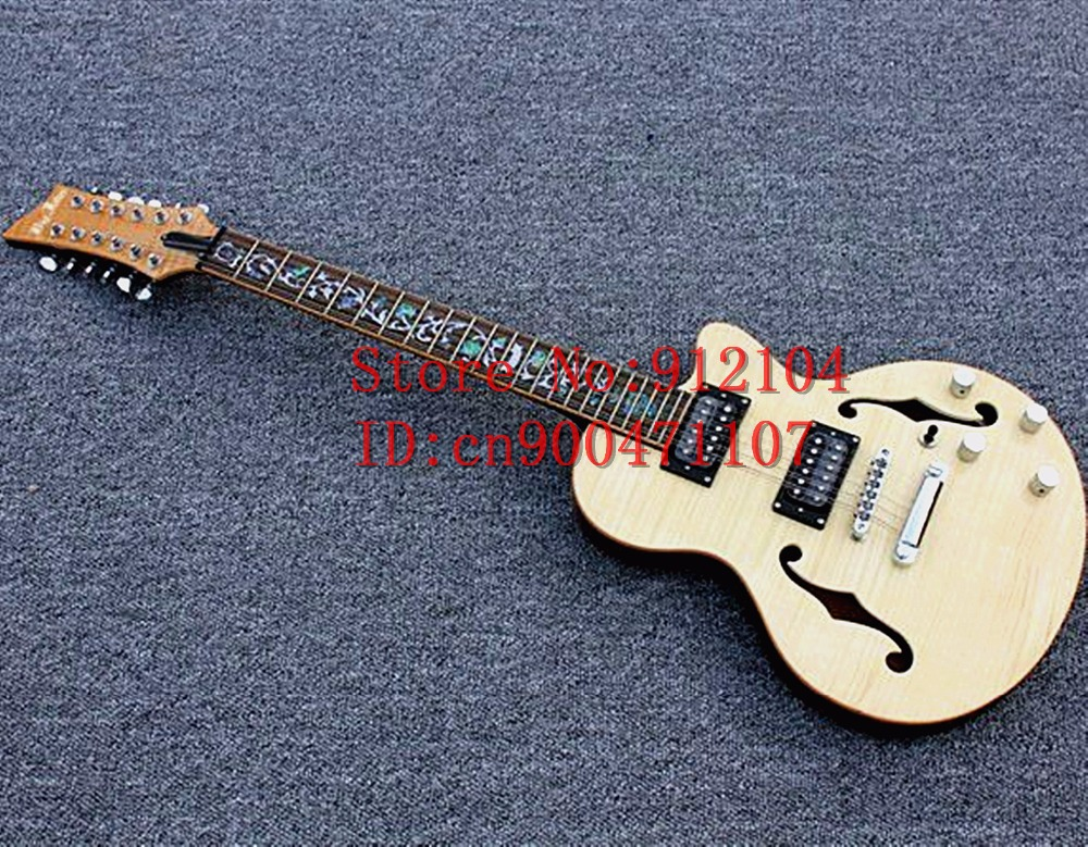 free shipping 12 strings electric guitar natural color flamed maple top double f hole flower inlay chrome hardware  F-1234-1 savarez 510 cantiga series alliance cantiga normal high tension classical guitar strings full set 510arj