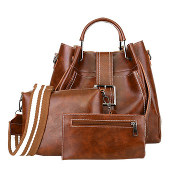 Women Bags 3Pcs Retro Pure Color Leather Shoulder Handbag+Crossbody Bag+Wallet women wallets cartera mujer billetera muj