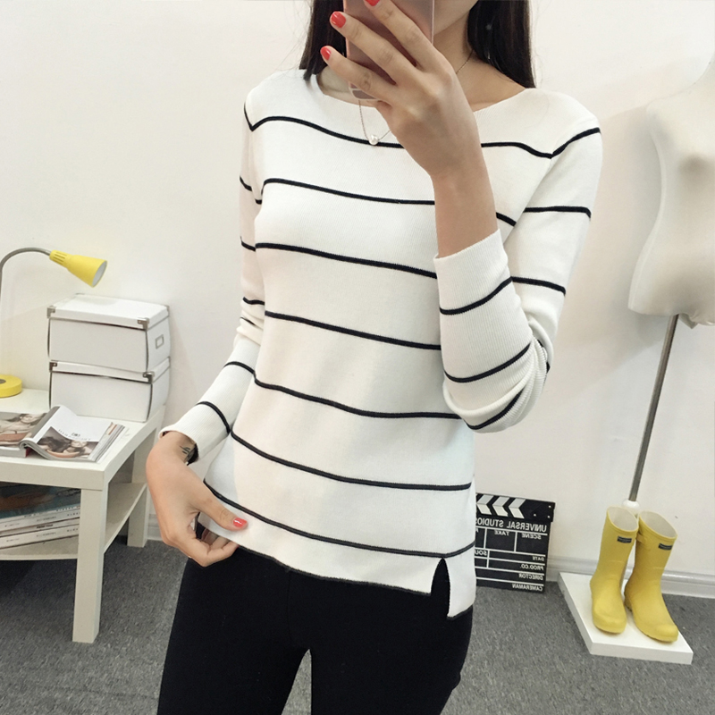Image 2 - OHCLOTHING 2019 Striped collar sweater sweater autumn thin coat dress lady shirt autumn jacket female-in Pullovers from Women's Clothing